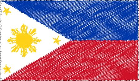 Vector Drawing of Sketch Style Philippines Flag