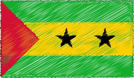 Vector Drawing of Sketch Style Sao Tome and Principe Flag