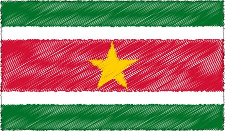 Vector Illustration of Sketch Style Suriname Flag