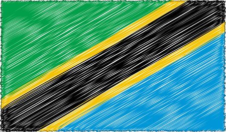 Vector Drawing of Sketch Style Tanzania Flag