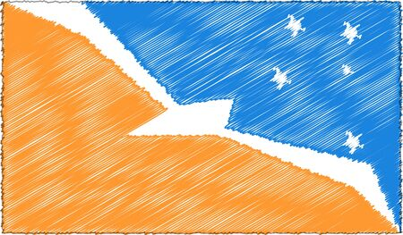 Vector Drawing of Sketch Style Tierra del Fuego Flag