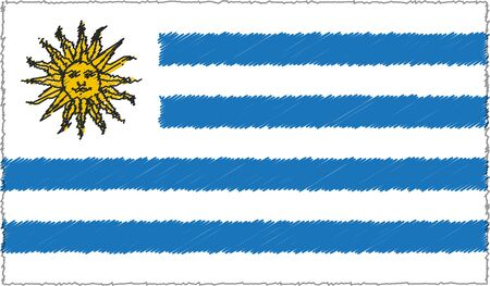 Vector Drawing of Sketch Style Uruguay Flag