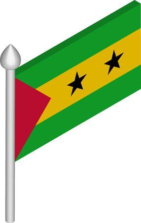 Vector Isometric Illustration of Flagpole with Sao Tome and Principe Flag Ilustração Vetorial