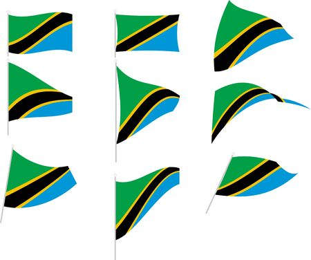Illustration of Set with Tanzania Flag