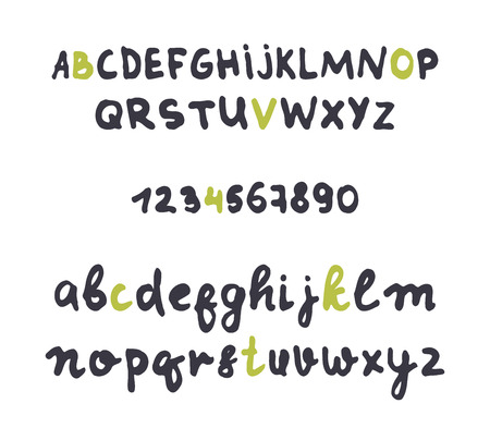 careless: Font careless style handmade. Design alphabet. A set of uppercase and lowercase letters and numbers.