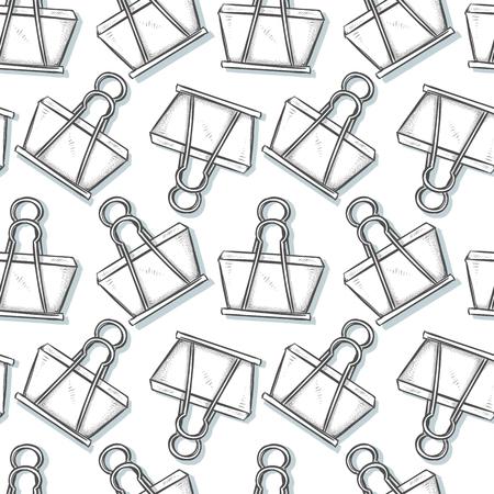 binder clip: Binder Clip, sketch seamless pattern background. Cartoon style