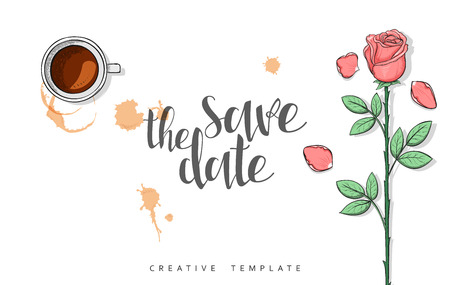 Design wedding postcard with roses petals and calligraphy congratulation in sketch style. Save the date with calligraphy poster print. Wedding invitation card with calligraphy. Calligraphic quote