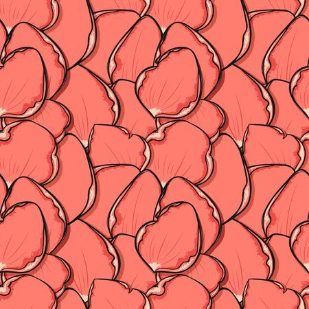 jardines con flores: Dise�o sin fisuras patr�n de color rosa con p�talos de rosa en el estilo de dibujo. El dise�o de moda con las flores de los p�talos de la impresi�n del cartel. Tarjeta de felicitaci�n con los p�talos de rosas. Boceto de fondo sin fisuras. Ornamet con p�talos