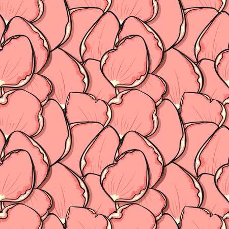 roses petals: Design seamless pattern with pink rose petals in sketch style. Fashionable design with flowers petals poster print. Greeting card with roses petals. Sketch seamless background. Ornamet with petals