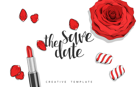 pomade: Beauty background with roses, petals, sweets in sketch. Stylish background template in red. Design greeting cards , invitations , wedding cards. Elegant design with lipstick , marshmallow and rose