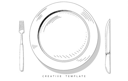 plate: Set sketch cutlery . Plate fork and knife . Template for food presentation , advertising text . Template for cafes, restaurants, bars, hotels. Beautiful , stylish sketch background - the template .