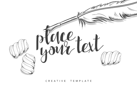 writing instruments: Feather pen and marshmallow in sketch. Conceptual background template for presentations. Realistic outline items. Writing instruments. Sweets on table. Presentation Text. Set of objects in sketch Illustration