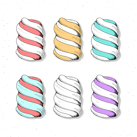 marshmallows: Set realistic sketch marshmallows . Zephyr to create a design . Delicious sweets. Zephyr handmade design. Color and monochrome sweets. Bright set of marshmallow in sketch style .