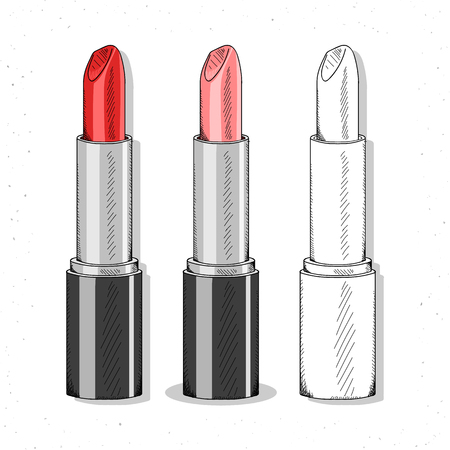 line up: Set realistic sketch lipsticks. Womens cosmetics for design. Female cosmetic accessories. Lipstick handwork to create designs. Red lipstick and monochrome. Bright lipsticks set in sketch style.