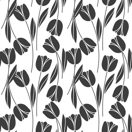 Abstract seamless retro pattern with silhouettes of tulips . Floral design . Textile Design . Vintage background with flowers Illustration