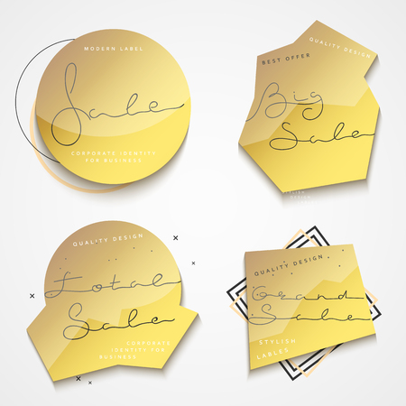 grand sale icon: Set of 4 gold label with black text sales for the store.