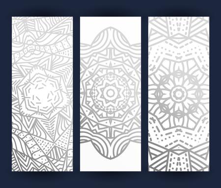 mandala: leaflet with silver mandala . Realistic brochure gray mandala