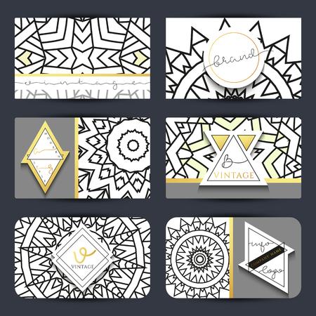 modern innovative: Innovative Vintage mandala. Stylish emblem handmade modern . Emblem in gold  and white colors of the mandala