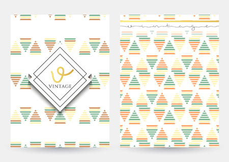 home page: Vintage page with geometric patterns . Cover retro. Home page and back. Geometric ornament. Easy to use and edit . Illustration