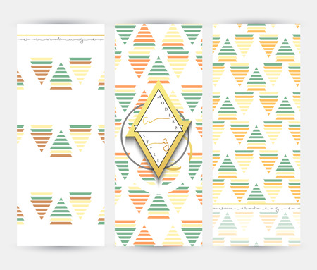 promotional products: Flyer with geometric patterns . Brochure modern style . Template card . Promotional Products Vintage gold. Old flyer .