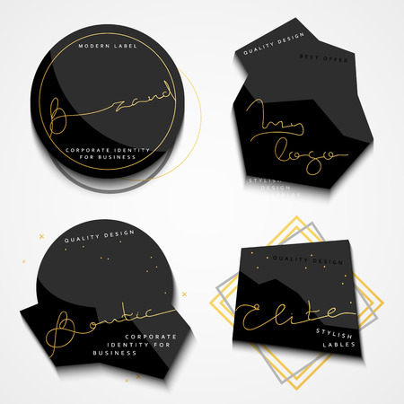 commodity: Set of 4 stickers . Black Label . Set of vintage labels. Set of labels for the business. Stickers for commodity products . Emblem in fashion style. Emblem modern.