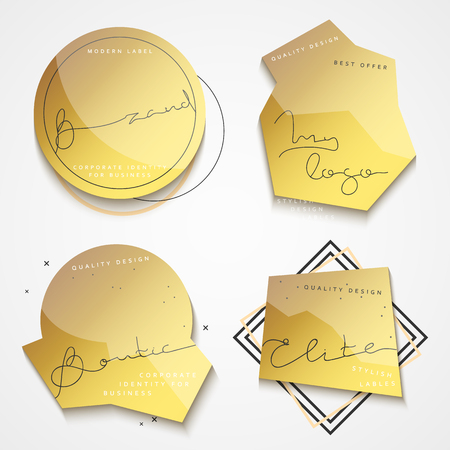 commodity: Set of 4 stickers . Gold label . Set of vintage labels. Set of labels for the business. Stickers for commodity products . Emblem in fashion style. Emblem modern.