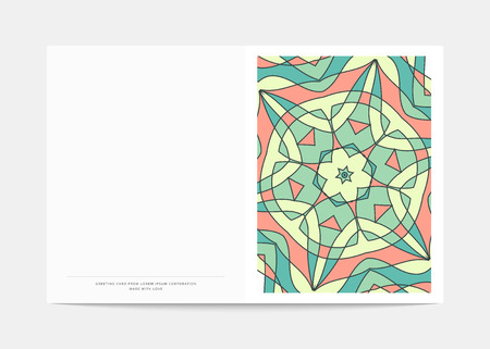 postcard: Postcard Retro . Cover in a turn with a bright pattern . Postcard for congratulations . Wedding greeting card .