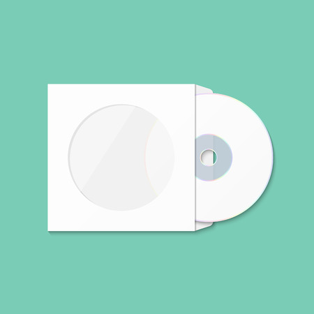 CD cover template DWD. Box for CD. Insulated packaging for discs. DWD Envelope. Vector CD box. Box CD DWD isolated on green
