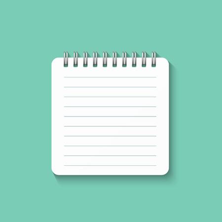 Sjabloon met spiraal notebook geïsoleerd op een groene achtergrond. School notebook. Diary voor het bedrijfsleven. Notebook cover design. Realistische Notepad. Kantoorbenodigdheden items.