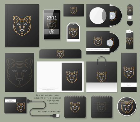 corporative: Classic branding. Business corporate style in black color. Realistic stationery template warnings. Corporate branding design. Standalone mockup.