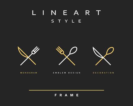 Icono de cuchillo, tenedor y cuchara. khife icono. cuchara icono. cubertería icono. Emblema cubertería