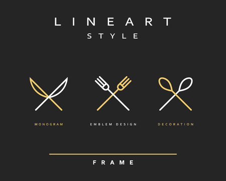 Icono de cuchillo, tenedor y cuchara. khife icono. cuchara icono. cubertería icono. Emblema cubertería Ilustración de vector