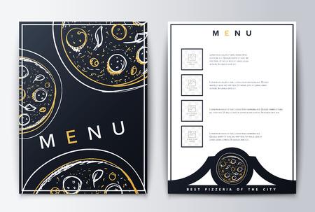 Menú del diseño. comida menú. menú culinario folleto. Fondo del menú para el restaurante o café. Menú para el restaurante. Menú con emblema de pizza. Fondo del menú. Menú del restaurante Ilustración de vector
