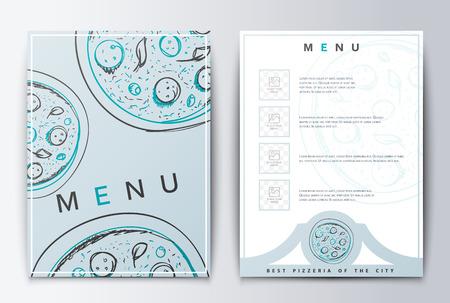 Design menu background pizza for restaurant or coffee. Vector Illustration