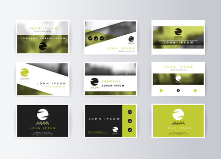 green card: Set of business cards, green background. Template information card. Concept corporate layout paper. Modern set card business Illustration