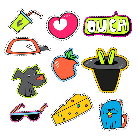 ouch: Patches collection isolated sticker set, icon vintage.