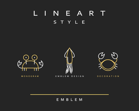 Marine life set emblem in linear style. Seafood Elegant emblem design illustration. Marine life icon, Seafood   decorations design element
