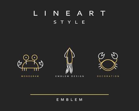 Marine life set emblem in linear style. Seafood Elegant emblem design illustration. Marine life icon, Seafood   decorations design element