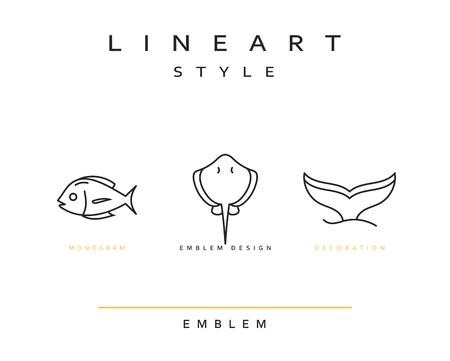 Fish emblem in linear style. Fish Seafood Elegant emblem design illustration. Fish icon, Seafood  decorations design element