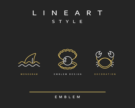 life style: Crab, pearl, and fin emblem in linear style. Seafood Elegant emblem design illustration. Marine life icon , Seafood  decorations design element