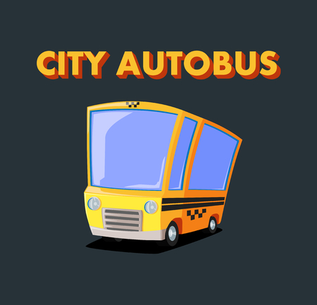 autobus:  yellow city autobus on black background