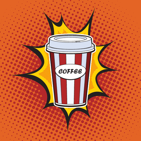refreshing: Coffee paper cup straw fast food pop art retro style. Restaurants and entertainment. Sweet refreshing in the heat of the drink. Childhood and joy. Advertising poster retro background
