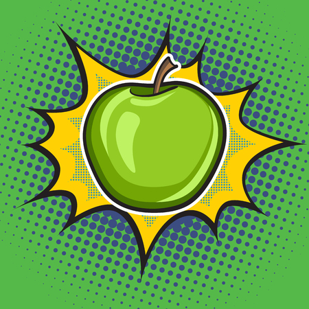 retro style: Vector apple pop art retro style. Dotted