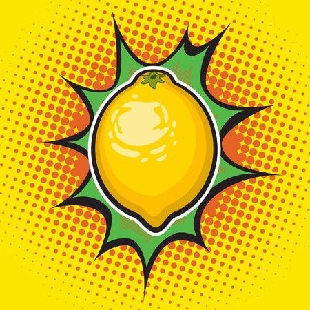 Vector lemon pop art retro style. Dotted