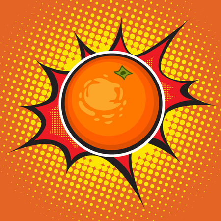 Vector orange pop art retro style. Dotted Vettoriali