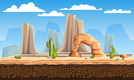 Vector seamless cartoon wild west landscape, unending background with mountains, cactuses and rocks