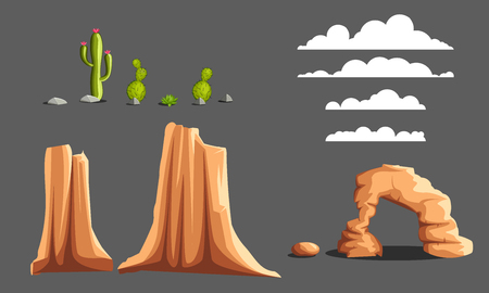 unending: Vector cartoon objects wild west landscape, unending background with mountains, cactuses and rocks Illustration