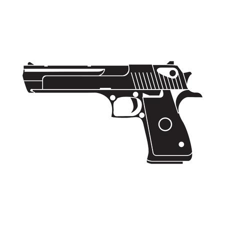 pistola: arma del ejército para la cubierta de impresión de carteles, etiquetas, etiqueta engomada, juego. estilo de línea.