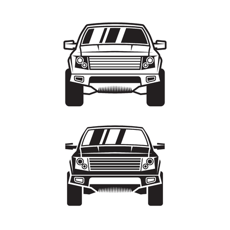 SUV for label, cover,  poster, print, sticker or tattoo. Line style. Set of two.