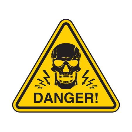 Vector symbol with skill, warns of danger. Can use for print, cover, label, sticker, sign, poster, banner.